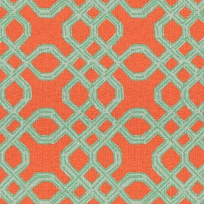 Lilly Pulitzer Well Connected Aqua Orange Designer Fabric