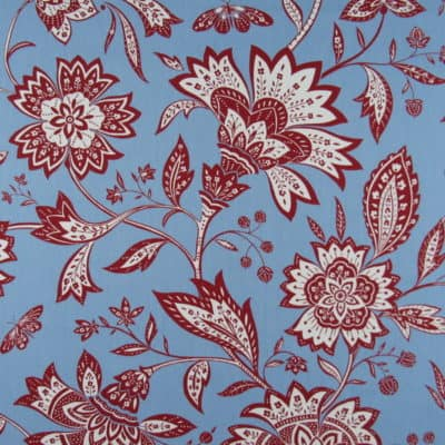 Duralee Red Blue Floral Cotton Fabric