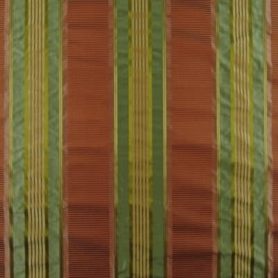 Rust Green Silk Stripe Fabric